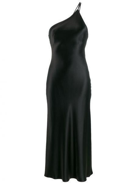 Шелковое черное расклешенное платье миди без рукавов Galvan