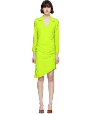Салатовое асимметричное платье макси с длинными рукавами с воротником Miaou