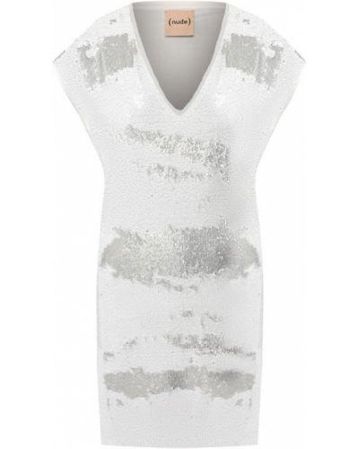 Платье с пайетками серебряный Nude