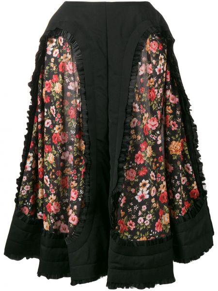 Шерстяная черная юбка миди в рубчик Comme Des Garçons