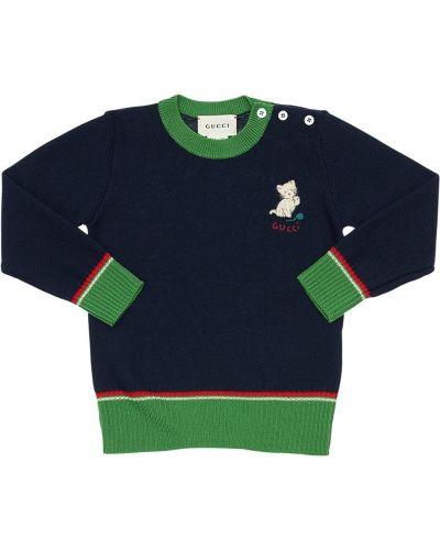 Wełniany sweter z kołnierzem z mankietami z haftem Gucci