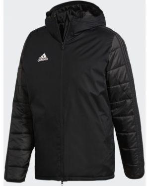 Футбольная спортивная теплая черная зимняя куртка Adidas
