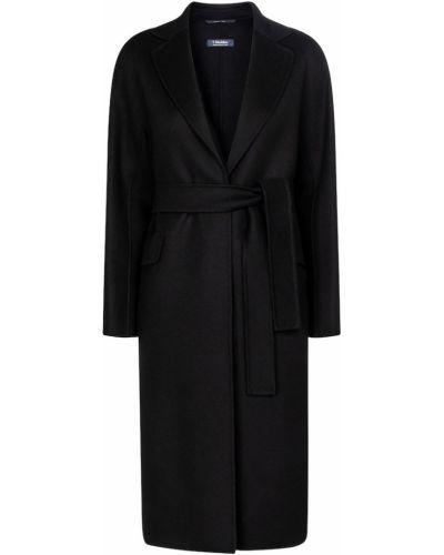 Шерстяное черное пальто 's Max Mara