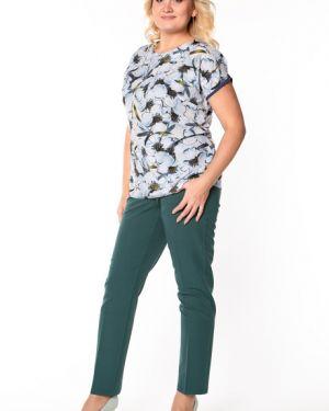 Блузка с коротким рукавом с цветочным принтом шелковая Virgi Style