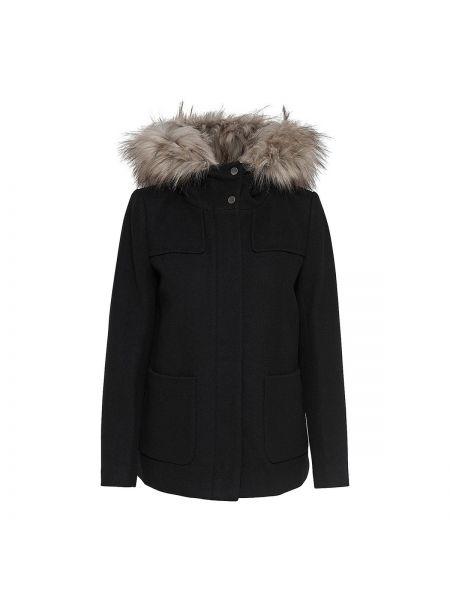 Пальто с капюшоном укороченное шерстяное Only