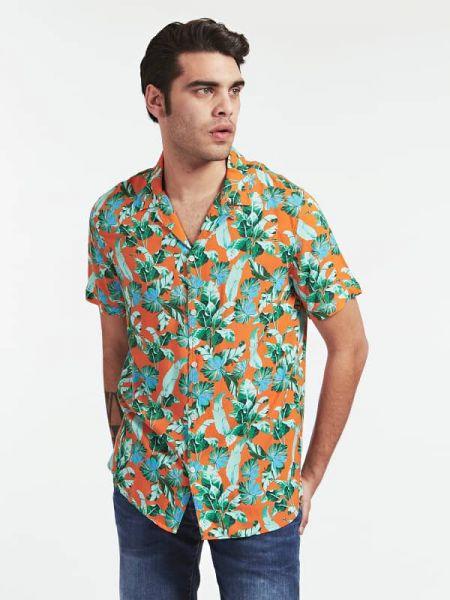 Koszula krótkie z krótkim rękawem z wiskozy na kręgle Guess