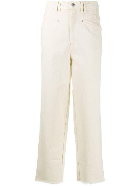 Prosto bawełna z wysokim stanem jeansy na wysokości z kieszeniami Isabel Marant