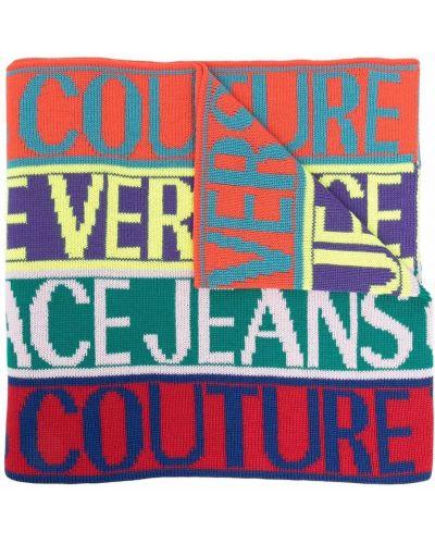 Szalik wełniany - pomarańczowy Versace Jeans Couture