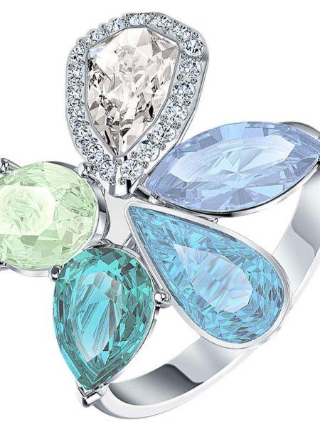 Серебряное кольцо металлическое с декоративной отделкой Swarovski