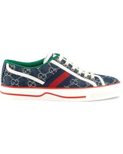 Buty sportowe skorzane - niebieskie Gucci