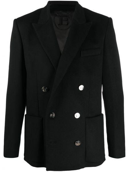 Черный пиджак оверсайз на пуговицах из вискозы Balmain