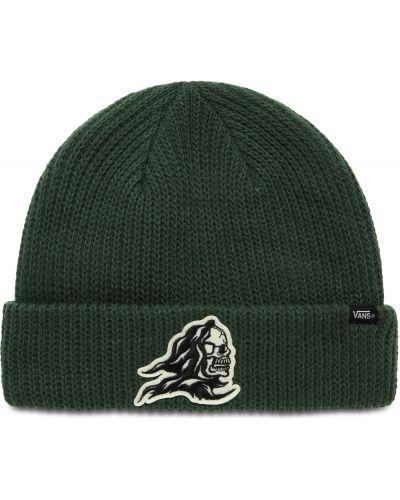Акриловая зеленая шапка бини с отворотом Vans