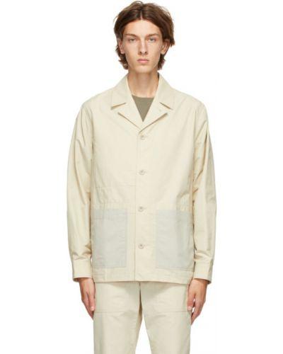 Beżowy nylon długa kurtka z kieszeniami z mankietami Norse Projects