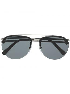 Прямые черные солнцезащитные очки металлические Bvlgari
