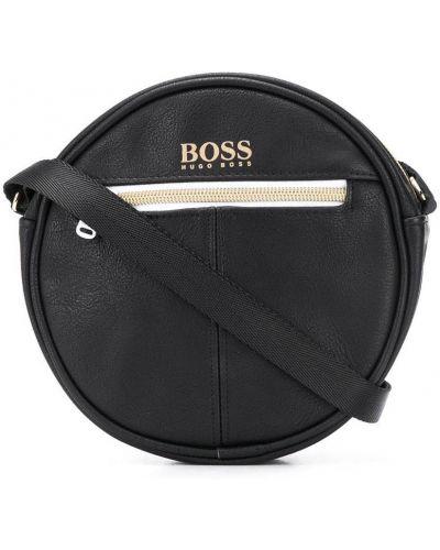 Черная сумка на плечо круглая на молнии Boss Kids