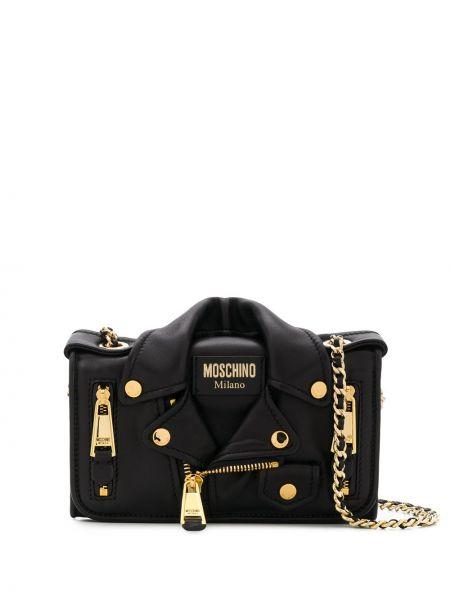 Золотистая черная кожаная куртка Moschino