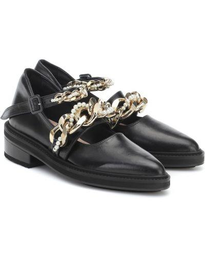 Klasyczny skórzany czarny buty brogsy Simone Rocha