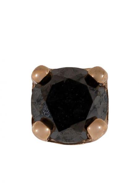 Czarne złote kolczyki sztyfty z diamentem Bvla