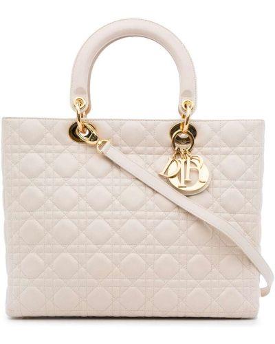 Biała torba na ramię skórzana Christian Dior