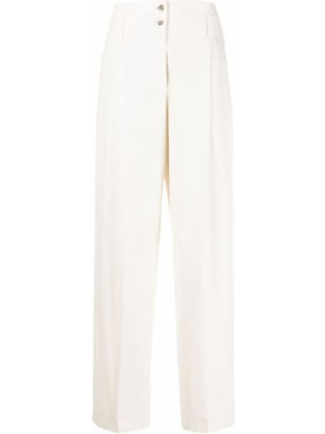 С завышенной талией льняные белые брюки Paul Smith