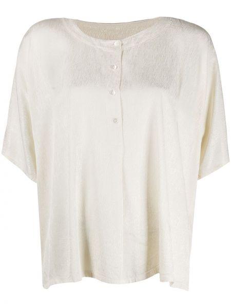 Белая прямая блузка на пуговицах с вырезом Raquel Allegra