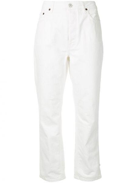 Кожаные белые прямые джинсы с карманами Paul & Joe