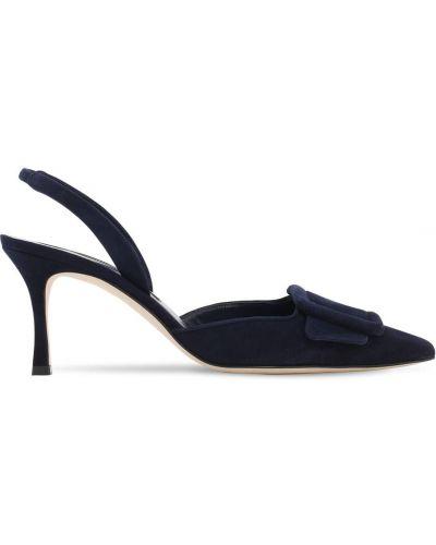 С ремешком замшевые туфли-лодочки на каблуке Manolo Blahnik