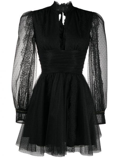 Czarna sukienka mini koronkowa z długimi rękawami Brognano