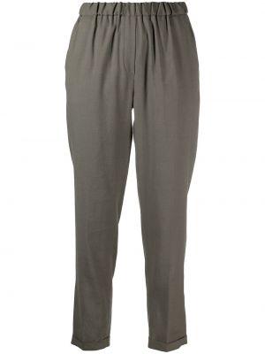 Хлопковые зеленые укороченные брюки с поясом Antonelli
