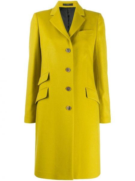 Однобортное желтое длинное пальто с капюшоном Paul Smith