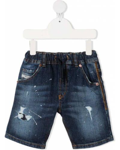 Хлопковые синие джинсовые шорты с карманами Diesel Kids