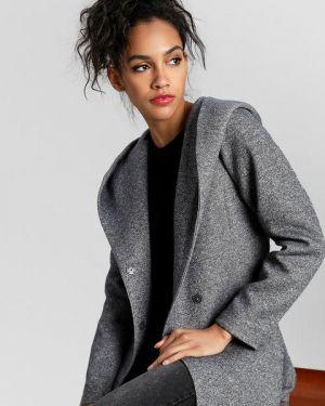 Серое пальто с капюшоном на кнопках с поясом Ostin