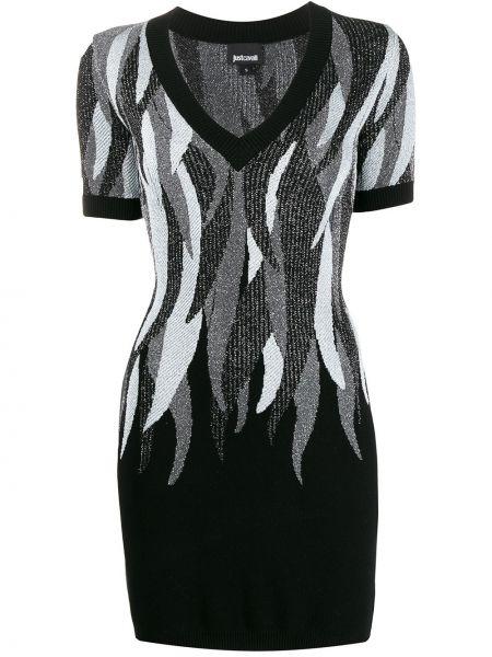 Облегающее вязаное черное платье мини Just Cavalli