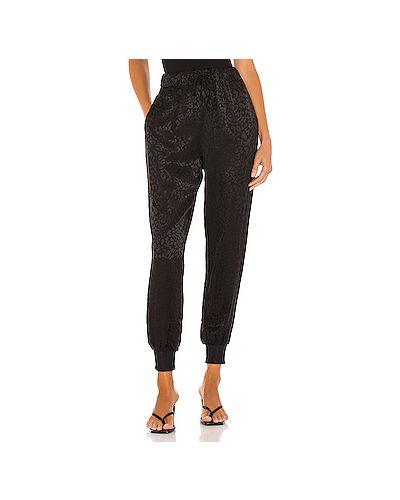 Шелковые черные брюки на резинке с завязками с карманами Lna