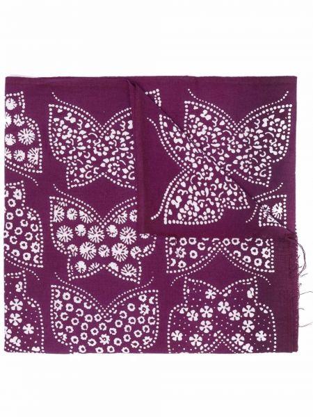 Fioletowy szalik bawełniany z printem Needles