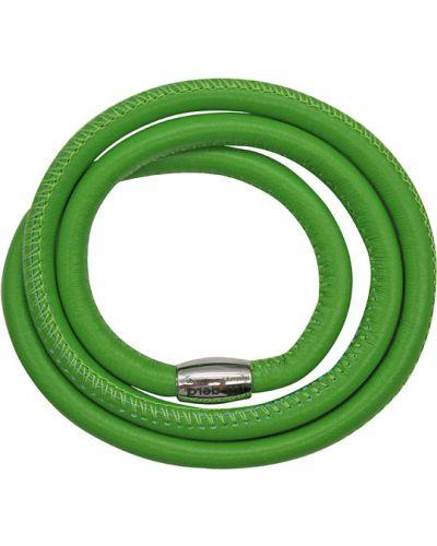 Кожаный браслет с магнитной застежкой зеленый Liza Geld