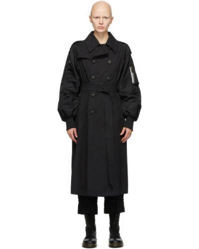 Bawełna długo płaszcz prążkowany z klapami z kołnierzem Regulation Yohji Yamamoto