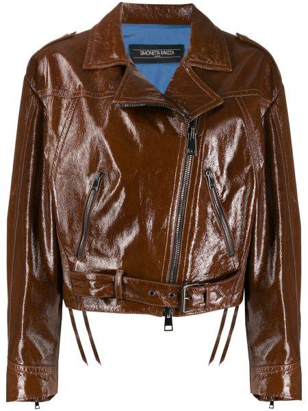 Коричневая кожаная короткая куртка на молнии Simonetta Ravizza