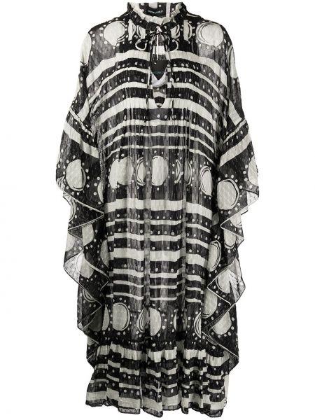 Шелковое платье миди - черное Cynthia Rowley