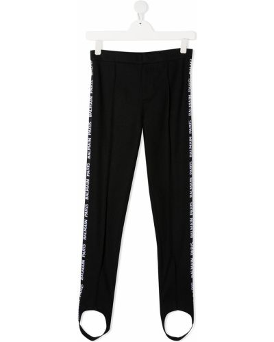 Czarne legginsy bawełniane z printem Balmain Kids