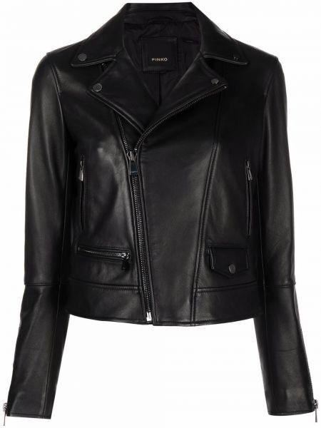 Кожаная куртка длинная - черная Pinko