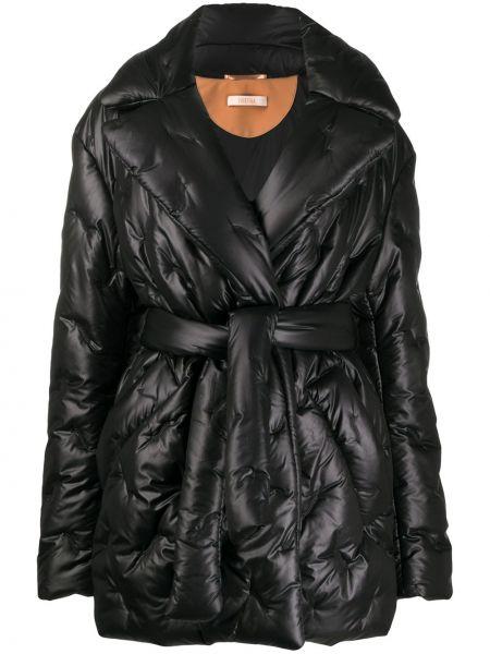 Черное стеганое длинное пальто свободного кроя Ssheena