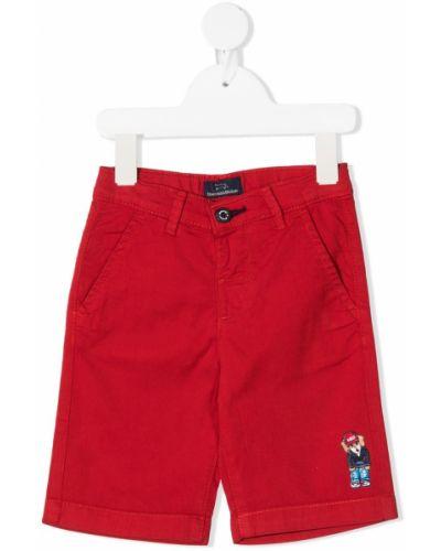 Хлопковые красные шорты с поясом с заплатками Harmont & Blaine Junior