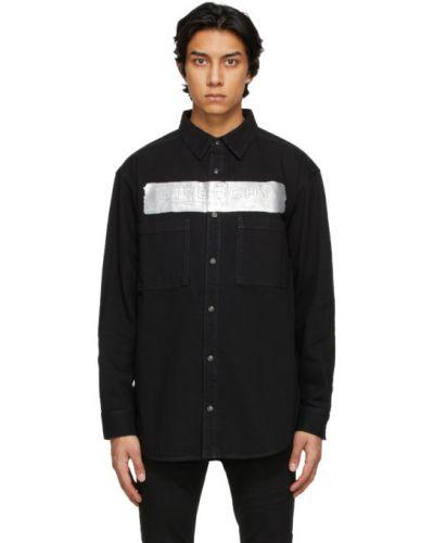 Czarna koszula jeansowa z długimi rękawami srebrna Givenchy