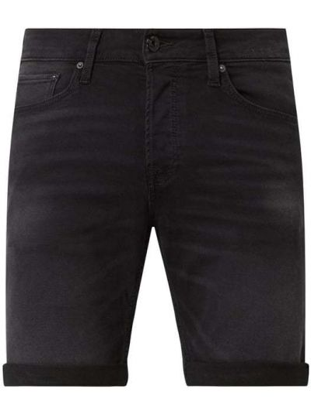 Bawełna czarny dżinsowe szorty z paskami z wiskozy Jack & Jones
