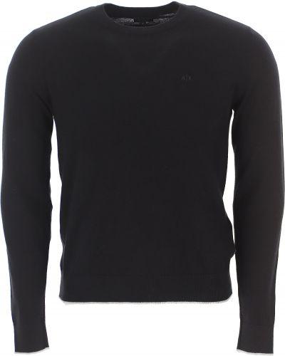 Czarny z kaszmiru sweter z długimi rękawami Armani Exchange