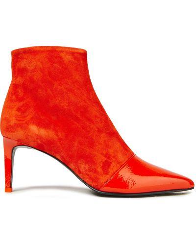 Pomarańczowe ankle boots zamszowe w szpic Rag & Bone