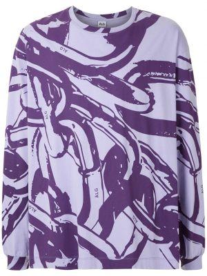 Fioletowy t-shirt z długimi rękawami bawełniany àlg