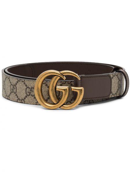 Brązowy pasek z prawdziwej skóry z paskiem Gucci