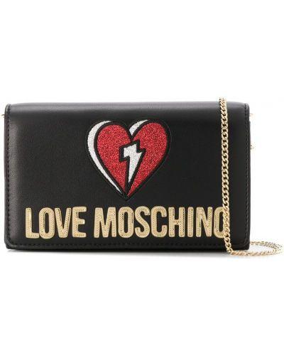 Czarna sprzęgło na łańcuchu skórzana z haftem Love Moschino